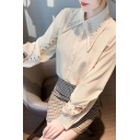 Pretty Ladies Shirt Embroidery Long Sleeve Point Collar Button Up Relaxed Fit Shirt Top
