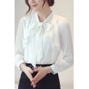 Stylish Womens Blouse Solid Color Pleated Long Sleeve Bow-tied Neck Chiffon Slim Fit Blouse Top