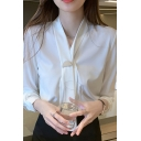 Pretty Ladies Shirt Long Sleeve Tied Neck Relaxed Fit Solid Shirt