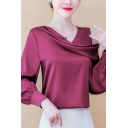Classic Ladies Shirt Solid Color Long Sleeve Asymmetric Cold Shoulder Relaxed Satin Shirt Top