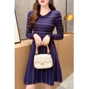 Pretty Womens Dress Blue Ditsy Floral Print Long Sleeve V-neck Knit Mid A-line Dress