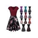 Womens Popular Dress Floral Printed Short Sleeve V-neck Mid Pleated A-line Tee Dress