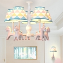 Resin Rainbow Horse Shaped Chandelier Cartoon Hanging Light Fixture with Triangle-Print Fabric Shade