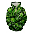 New Fashion Cool Allover Green Skull 3D Printing Drawstring Hoodie