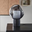 Dome Smoke Glass Night Table Light Designer Single Black Nightstand Lighting with Milk Glass Shade Inside