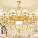 Gold Candelabra Chandelier Light Vintage Opal Glass Living Room Hanging Light with K9 Crystal