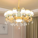 Gold Plated Indoor Lamp Retro Cream Glass Pear Shaped Light Fitting with Dangling Crystal Accent