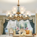 Ceiling Suspension Lamp Antique Bell Flower Frosted Glass Chandelier in Blue and Brass