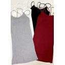 Basic Women's Dress Solid Color Spaghetti Strap Criss Cross Sleeveless Scoop Neck Short Dress