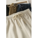 Trendy Women's Pants Solid Color Corduroy Elastic Drawstring Waist Long Straight Pants