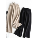 Leisure Women's Pants Solid Color Drawstring Waist Long Wide Leg Knitted Pants