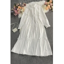 Trendy Women's Shirt Dress Solid Color Tiered Button Fly Point Collar Long Sleeves Regular Fitted Swing Dress