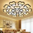 Stylish Modern Peacock Tail Ceiling Fixture Acrylic Living Room LED Semi Flush Light in White