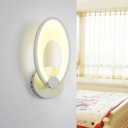Minimalist Oval Wall Lamp Sconce Acrylic Integrated LED Stairs Wall Light in White