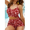 Cute Womens Co-ords Ditsy Flower Printed V-neck Fit Cropped Cami & Shorts Co-ords in Red