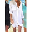Basic Women's Shirt Solid Color Chest Pocket Spread Collar Long Sleeve Button Fly Tunic Shirt
