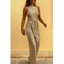 Stylish Women's Jumpsuit Glitter Sequined Hollow out Tie Waist Backless Sleeveless Regular Fitted Jumpsuit
