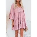 Leisure Women's Swing Dress Tiered Solid Color Drawstring Front Tassel Detail Half Sleeves Relaxed Fit Swing Dress