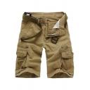Trendy Men's Shorts Solid Color Flap Pocket Side Pocket Zip Fly Knee Length Straight Shorts