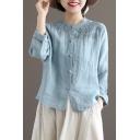 Leisure Womens Shirt Flower Embroidery Long Sleeve Crew Neck Button-up Relaxed Linen Shirt