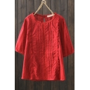Basic Girls Shirt Linen and Cotton Short Sleeve Crew Neck Lace Trim Pleated Relaxed Plain Shirt
