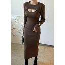 Elegant Womens Dress Ribbed Long Sleeve Crew Neck Cut Out Solid Color Midi Shift Dress