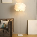 Drum Shaped Floor Standing Light Simplicity Feather 1 Head White Floor Lamp for Living Room