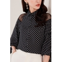 Chic Ladies Blouse Chiffon Polka Dot Print Sheer Lace Panel Blouson Sleeve Relaxed Blouse in Black