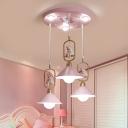 Pink Trumpet Shaped Hanging Light Kids 6-Light Metal Multi Pendant Ceiling Light