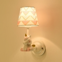 Cartoon Animal Wall Mount Lamp Resin 1-Light Nursery Wall Sconce with Fabric Shade in White