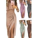 Glamorous Ladies Dress Glitter Plain Long Sleeve Off the Shoulder Ruched Long Wrap Dress