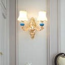 Wall Sconce Light Traditional Flared Cream Glass Wall Lamp in Gold with Blue Ceramics Accent