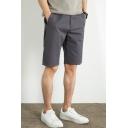 Fancy Men's Shorts Solid Color Pocket Design Zip Fly Knee Length Shorts