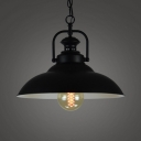Metallic Pot Lid Hanging Light Simplicity 1 Bulb Restaurant Pendant Light in Black Outer & White Inner
