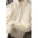 Fancy Women's Shirt Button Fly Lace Trim Long Sleeve Broderie Detail Regular Fitted Shirt
