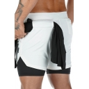 Gym Fake Two Piece Shorts Camo Pattern Drawstring Waist Fitted Shorts