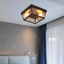 Black Box Flush Mount Ceiling Light Industrial Glass Corridor Flush Mount Light Fixture