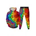 Elegant Men's Co-ords 3D Graphic Pattern Front Pocket Long Sleeve Drawstring Hoodie with Jogger Pants Set