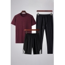 Summer Co-ords Short Sleeve Relaxed Tee & Striped Shorts & Ankle Pants Co-ords for Men