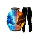 Fancy Men's Hoodie Wolf Digital 3D Print Front Pocket Long Sleeve Drawstring Hooded Sweatshirt
