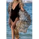 Trendy Women's Shirt Open Front Leopard Print Batwing Sleeve Drawstring Waist Long Shirt