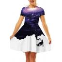 Trendy Womens Dress Starry Sky 3D Pattern Short Sleeve Crew Neck Short A-line T Shirt Dress