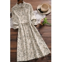 Leisure Womens Dress Ditsy Flower Print Long Sleeve Point Collar Button Up Tied Waist Mid A-line Dress