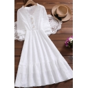 Cute Girls Dress Long Sleeve V-neck Button Up Ruffled Midi Pleated A-line Dress in White