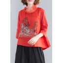 Unique Women's Blouse Tree Landscape Embroidered Patchwork Mesh Gauze Long Sleeves Cowl Neck Relaxed Fit Pullover Blouse