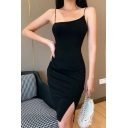 Pretty Womens Dress Spaghetti Straps Slit Sides Mid Tight Cami Dress in Black