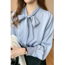 Stylish Womens Shirt Sherpa Liner Long Sleeve Bow Tied Neck Lace Trim Regular Fit Shirt Top in Blue