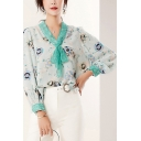 Popular Womens Shirt Long Sleeve Tied Neck Patterned Loose Fitted Shirt