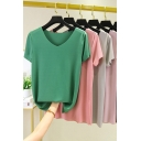 Fancy Women's Tee Top Solid Color V Neck Short Sleeves Regular Fitted Bottoming T-Shirt