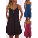 Basic Womens Dress Plain V-neck Button Up Short Pleated A-line Cami Dress